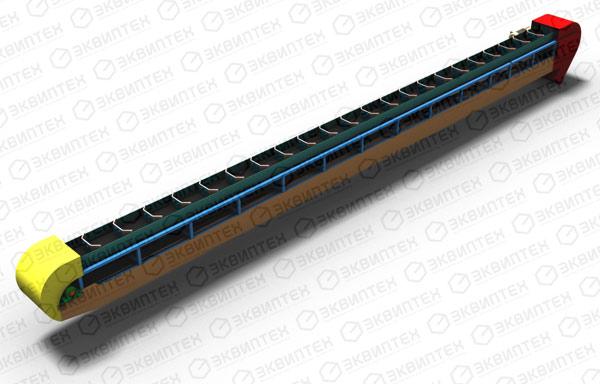 Рабочий угол может колебаться в широком диапазоне и составлять от 0... Наклонный ленточно-скребковый транспортер...